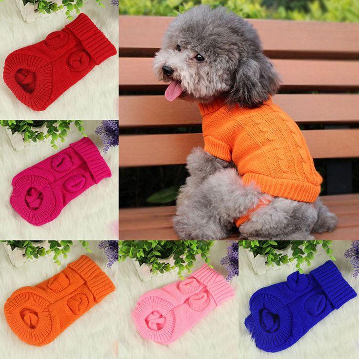 Pet Dog Winter Warm Knit Sweater Clothes Puppy Costume Coat Apparel Supplies NE