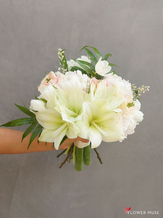 DIY tutorial for a Blush and Pale Green Bridal Bouquet featuring amaryllis, peonies and garden roses on Flower Muse blog.