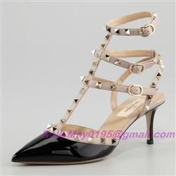CHEAP VALENTINO ROCKSTUD SLINGBACK 60MM BLACK PATENT,VALENTINO SHOES OUTLET,ACTUAL PICTURES