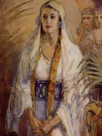 Minerva Teichert's Queen Esther. This one hangs in the women's dressing room of my favorite LDS Temple, Oquirrh Mountain. I believe it is the original...