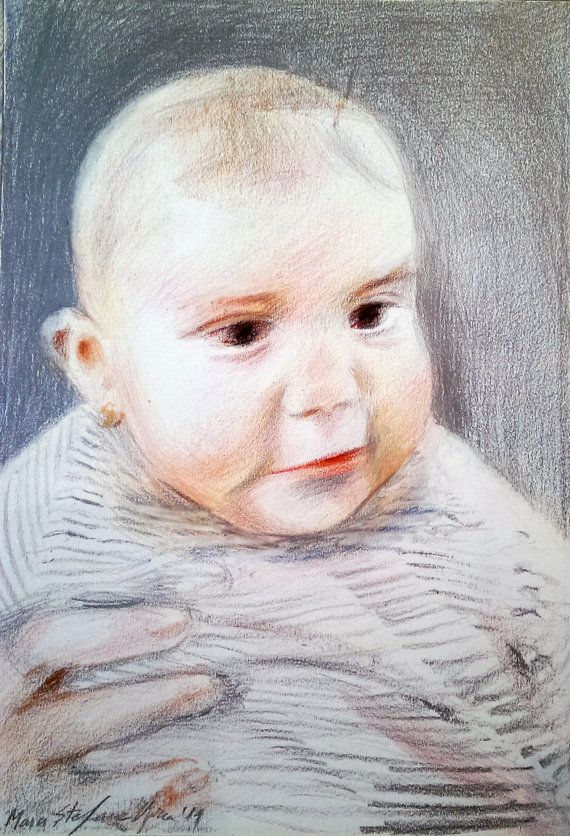 BABY GIRL DRAWING  custom postrait by BabyPortraitArt on Etsy, the mother is entirely implied, through the silver aura and the light which surrounds the little girl. #Baby, #colored, #pencils, #canson, #schutte, #mother, #hand, #white, #silver, #red, #babygirl, #aura, #birth