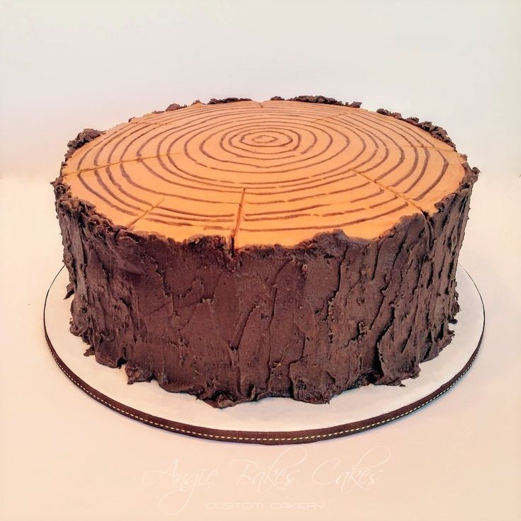 Tree Stump cake.  All buttercream, fondant free