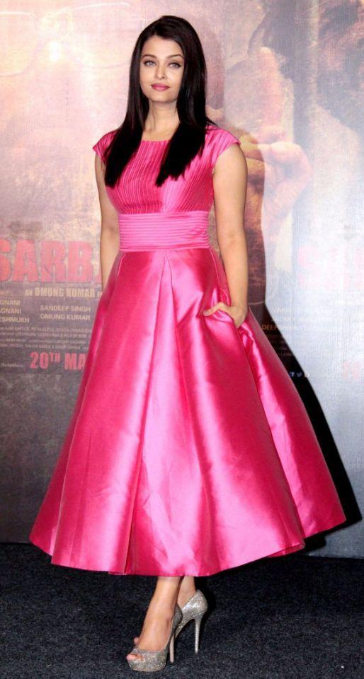 Aishwarya Rai Bachchan dazzles in a custom-made pink silk dress from designer Aiisha Ramadan during the official trailer launch of Sarbjit in Mumbai.