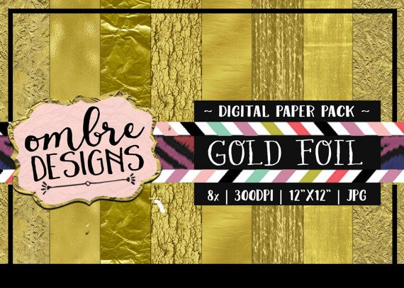 Gold foil makes projects look so elegant! These 8 Digital Papers are perfect for digital projects, (clipping masks, overlays, background) or printed out for Scrapbooking! #scrapbooking #goldfoil