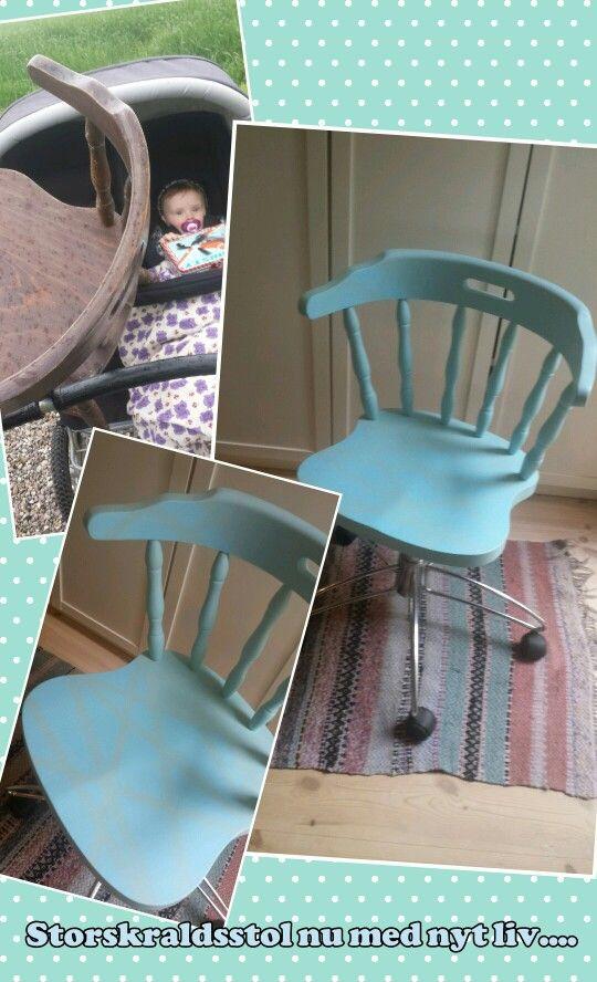 Upcykling af krostol og understel fra ødelagt kontorstol - lavet af mig