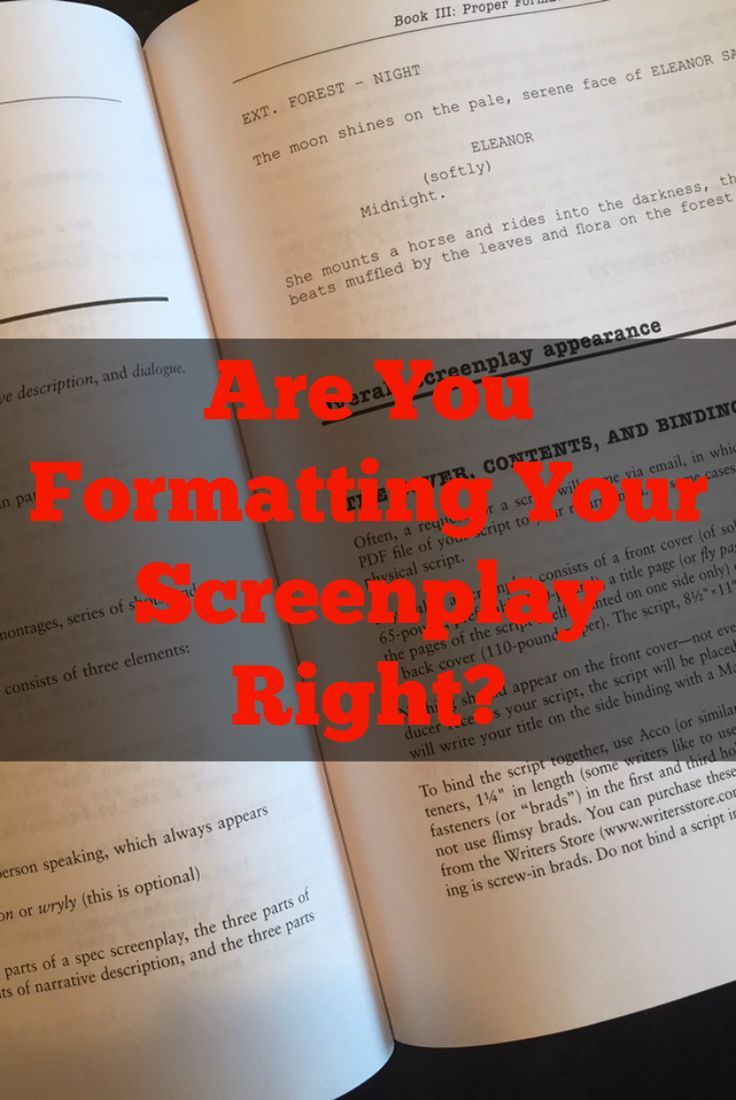 why is proper script writing format important creative writing