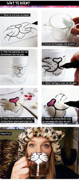 猫の顔のマグカップ