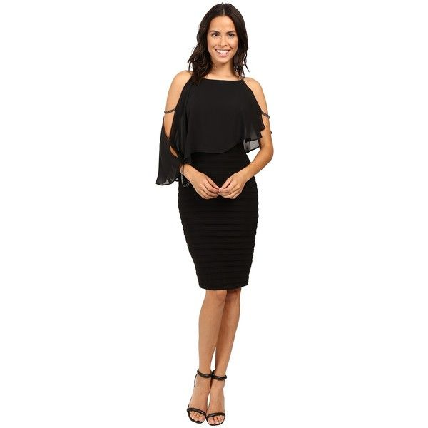 Adrianna Papell Lined Matte Jersey Banded Sheath Dress (Black) Women's... ($160) ❤ liked on Polyvore featuring dresses, flutter sleeve dress, adrianna papell dresses, sheath dresses, short dresses and zipper dress
