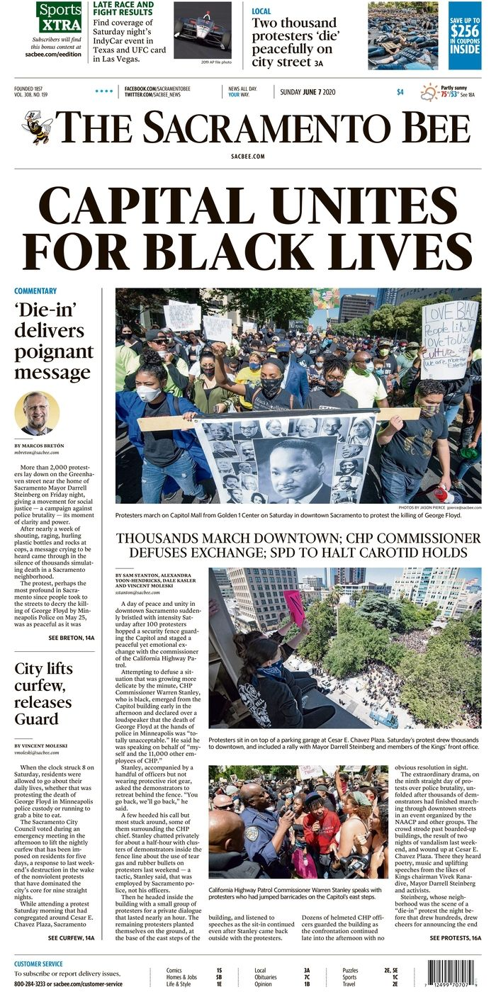 Sunday Sacramento Bee Protest Blm June 7 2020 Blm Newspapers Page Online