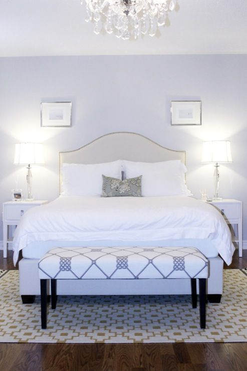 AM Dolce Vita: Master Bedroom, Upholstered Bed, Nailhead Trim, ICI Dulux Silver Cloud Paint, West Elm ...