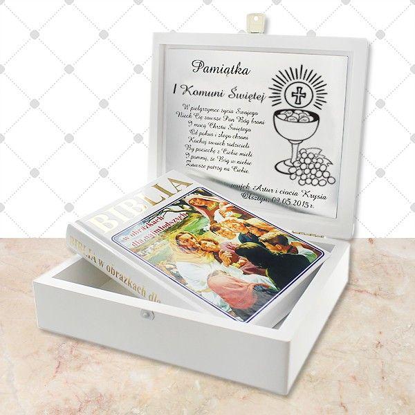 Biblia w obrazkach + szkatułka z opcją graweru dedykacji na komunię.  http://bit.ly/1UdmJ8e