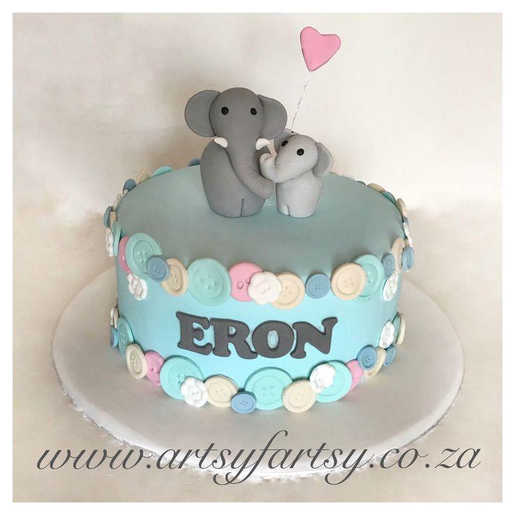 Elephant Baby Shower Cake #elephantbabyshowercake