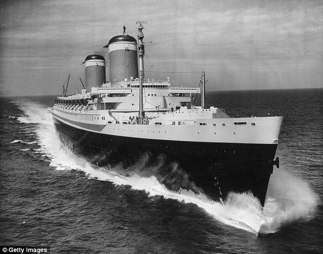 Glory days: SS United States was the winner of the Blue Riband for 1952 with a transatlantic crossing speed of 41 mph