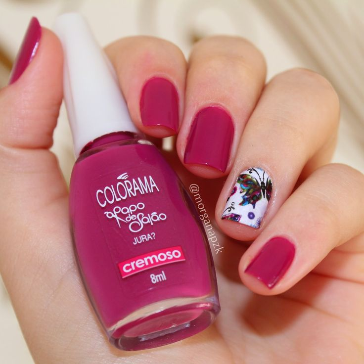 Pink nails. Polish. Flowers nail art. Nail design. Polishes. Polish. By @bymorganapzk Unhas: Jura? da Colorama + Adesivo da Lu