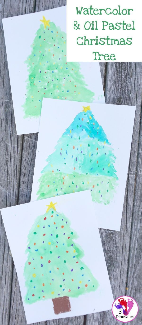 Watercolor And Oil Pastels Christmas Trees Easy To Do Christmas Watercolor Painting With Great For Watercolor Christmas Tree Oil Pastel Christmas Watercolor