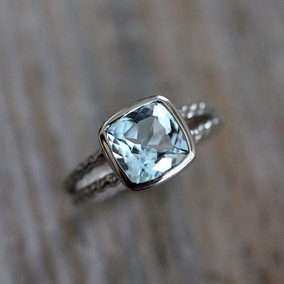 Sky Blue Topaz and Argentium Sterling Silver Ring by OneGarnetGirl