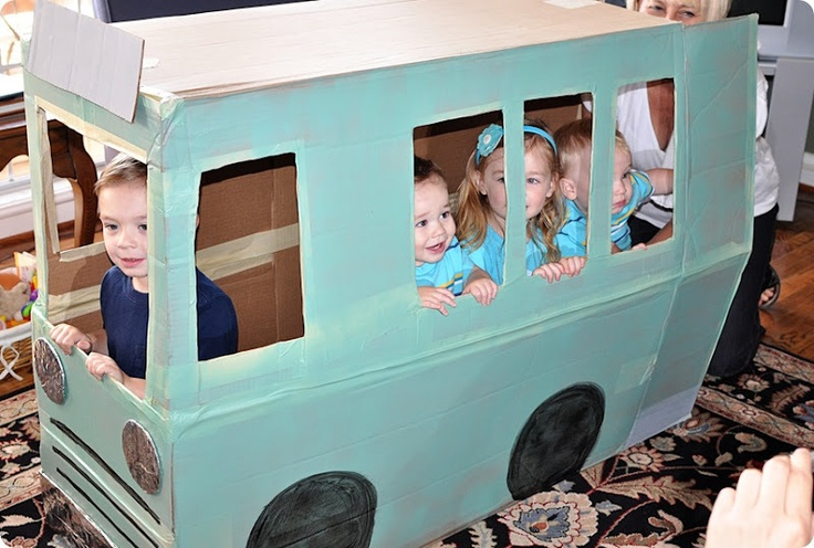 "Cardboard ""bus"" out of a fridge box or XL box might be a fun reading spot!"