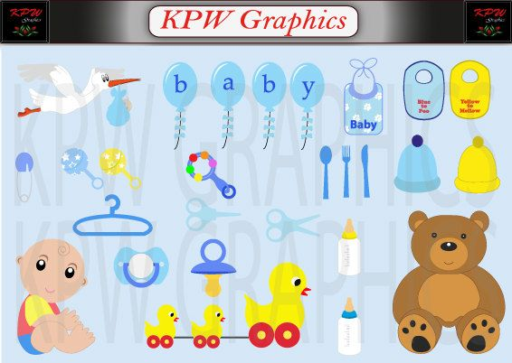Baby and Accessories Boy Clipart Set in a PNG by KPWgraphics