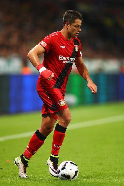 Javier Hernandez of Bayer 04 Leverkusen in action during the Bundesliga match between Bayer 04 Leverkusen and Borussia Dortmund at BayArena on October 1, 2016 in Leverkusen, Germany.