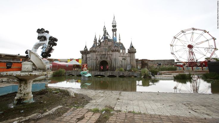 Banksy's new amusement park, called Dismaland, is dark, funny, and topical -- everything you'd expect from the controversial street artist.