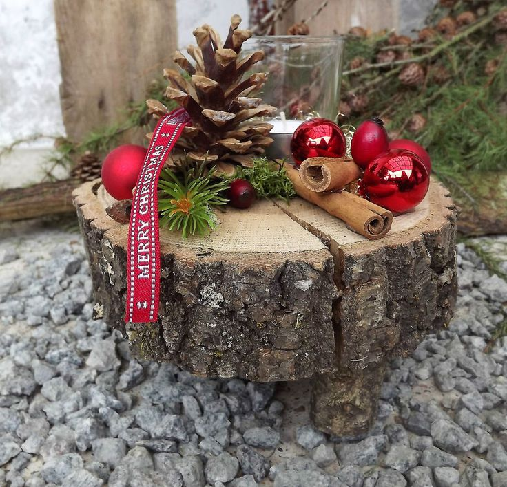 Weihnachten Advent Holz Gesteck Teelicht auf Holzscheibe rot natur | Möbel & Wo…