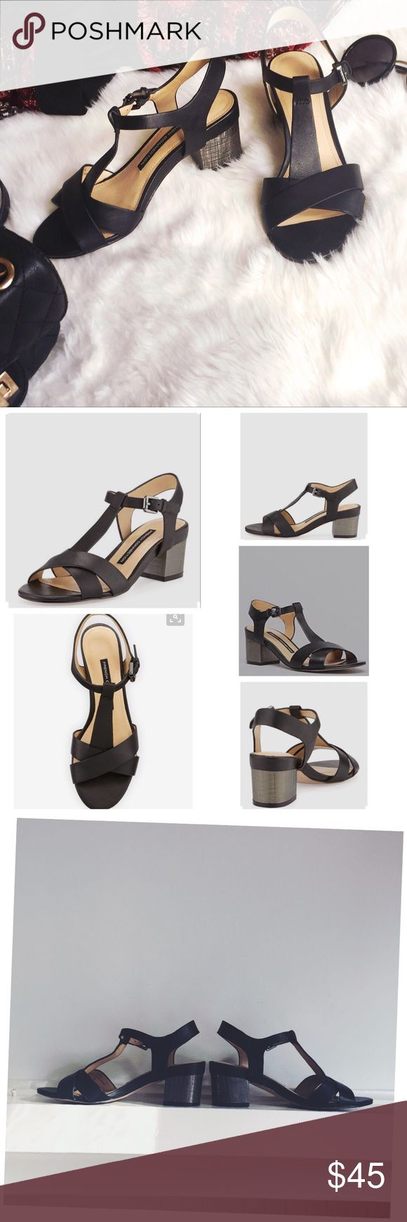 """French Connection Lara Block Heel Black Sandal, 6 A basic! Comfortable and stylish leather city sandal. Textured 2 1/2"""" silvertone block heel. Open round toe. Crisscross bands over vamp. T-strap upper. Ankle strap w/silvertone buckle closure. Padded insole; smooth outsole. Excellent condition (worn twice). No stain, no scratches French Connection Shoes Sandals"""