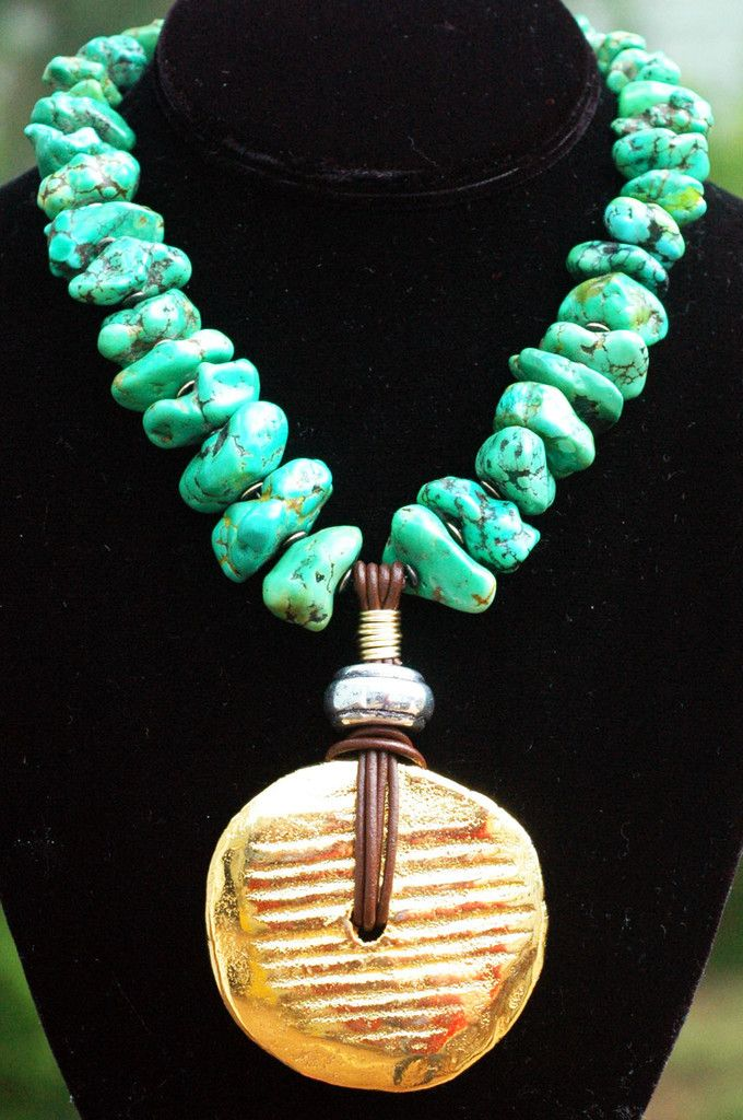 Gorgeous Green Turquoise Nugget and Gold Medallion Pendant Necklace