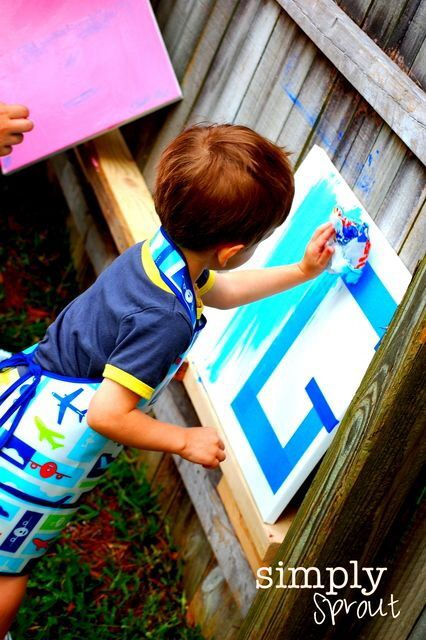 Write initials with masking tape or painters tape. Let kids paint, then peel of the tape super cool for a piece of art.