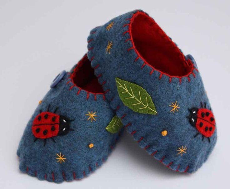 Felt baby shoes, blue with ladybug. $45.00, via Etsy.