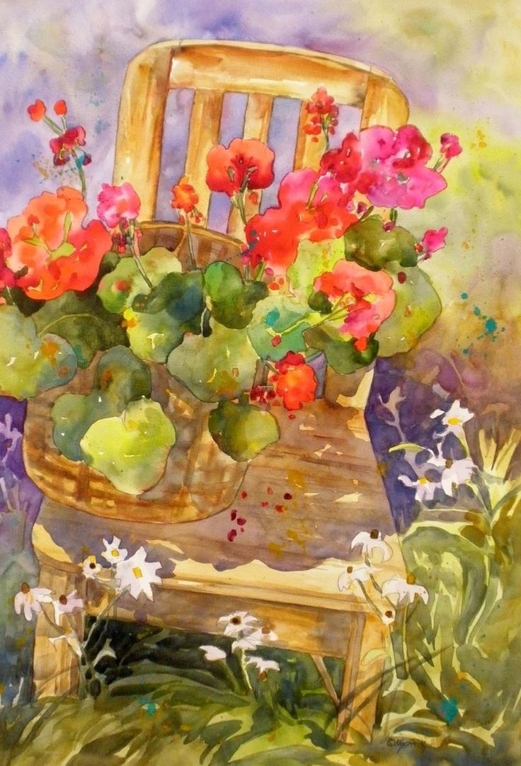 """""""Garden Geranium Chair"""" - by Kay Smith"""