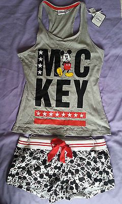 Mickey Mouse Disney Primark Racerback Vest & Shorts PJ's Ladies Size 14/16