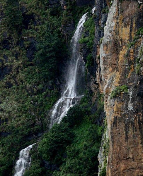 Waterfall near pillar rocks