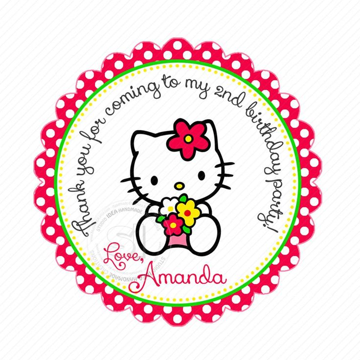"Custom Hello Kitty Birthday Thank you Printable 2.5"" Tags-Personalized Kitty thank you 2.5 inches Tags- Stickers DIY Favor Tags"