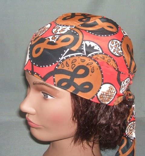 Do Rag Black, Red and Brown Scarf Print Head Wrap, Do Rag, Ladies Head Scarf, Chemotherapy Patients, Bikers, Motorcycle Riding, Head Scarf