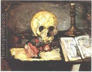 Still Life With Skull And Candlestick  by Paul Cezanne