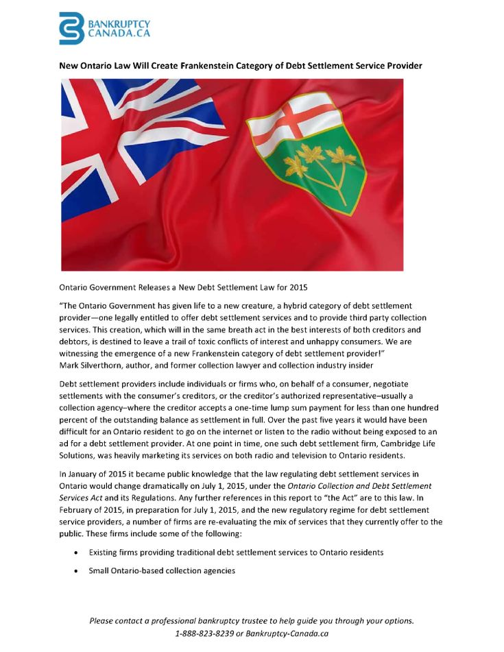 New Ontario Law Will Create Frankenstein Category of Debt Settleme.. |authorSTREAM - http://www.bankruptcy-canada.ca/