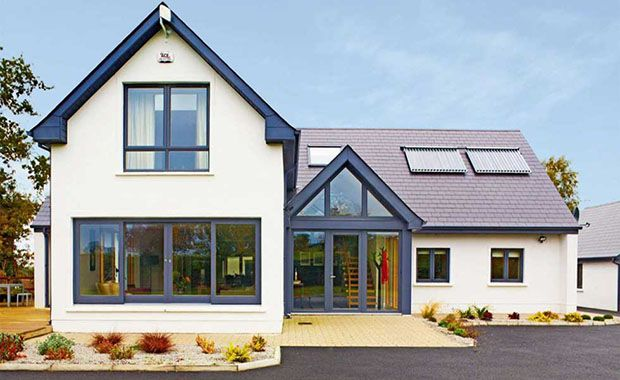 Contemporary Chalet Bungalow Conversion By La Hally: Bungalow With Two Storey Front Extension And Solar Panels