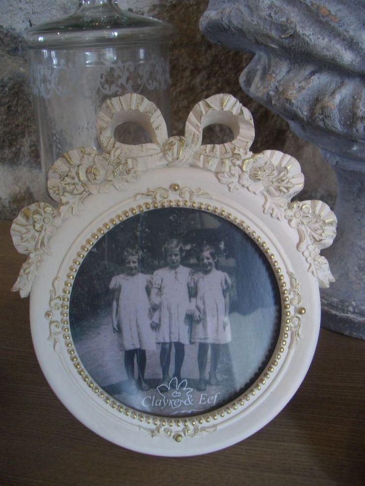 cadre photo rond blanc cassé patiné or noeud résine style Louis XVI 15X14 NEUF