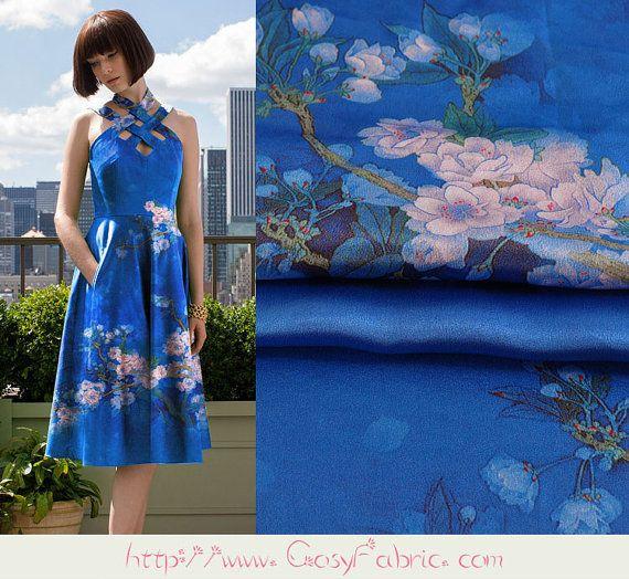 Pear Blossoms Print Blue Silk Charmeuse Fabric, Fashion Floral Silk Satin…