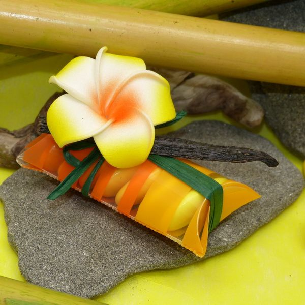 Tube de dragées exotique fleurs de frangipanier http://www.dragees-massardier.fr/dragees-mariage,fr,2,11.cfm