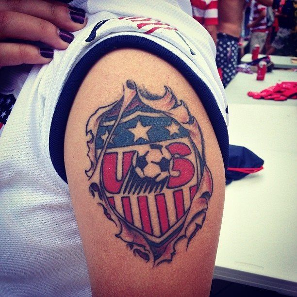 USA soccer tattoo. Love this one. Would put it on the chest above the heart.