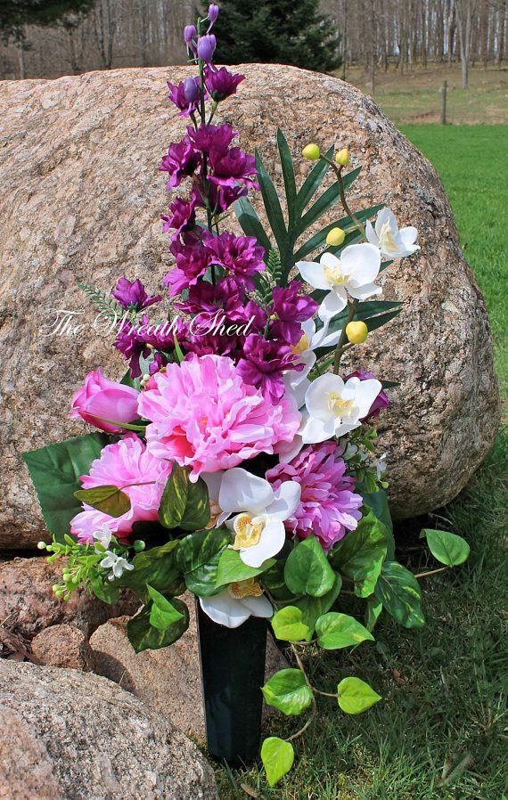 Beautiful Flowers for Gravesite, Cemetery Flowers in Ground Vase, Silk Flower Headstone Spray, Cemetery Flower Arrangement, Free Shipping