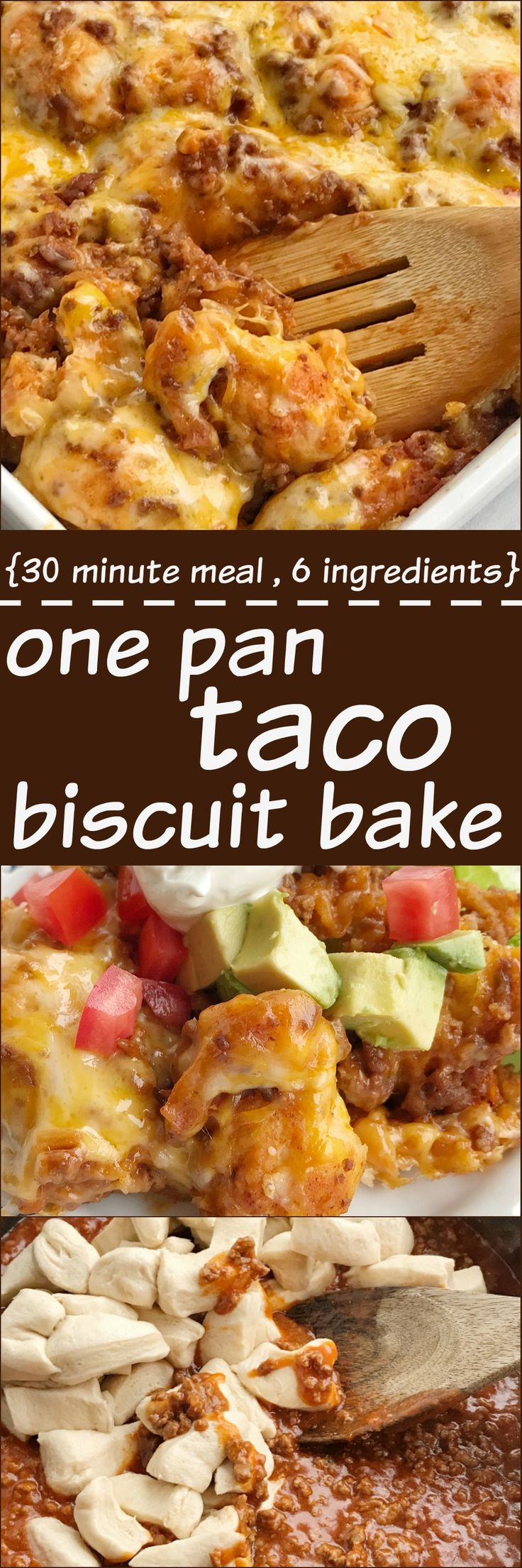 Taco biscuit bake is an easy & simple one pot meal. Puffed up refrigerated biscuits smothered in a beefy taco mixture and topped with melted cheese. Customize with your favorite taco toppings and you have a delicious dinner that the entire family will love!