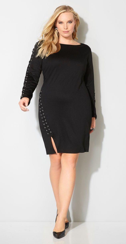 Plus Size Lace Up Dress