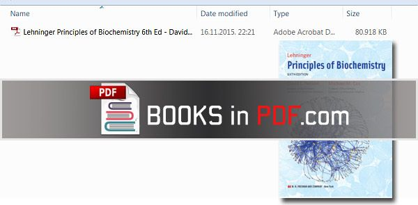 LEHNINGER PRINCIPLES OF BIOCHEMISTRY 6TH EDITION PDF FREE FULL DOWNLOAD - Download link: http://www.booksinpdf.com/lehninger-prin-full-download/ - The goal of this new edition of Lehninger Principles of Biochemistry PDF is to strike a balance: to include new and exciting research findings without making the book overwhelming for students. The primary criterion for inclusion is that the new finding helps to illustrate an important principle of biochemistry.