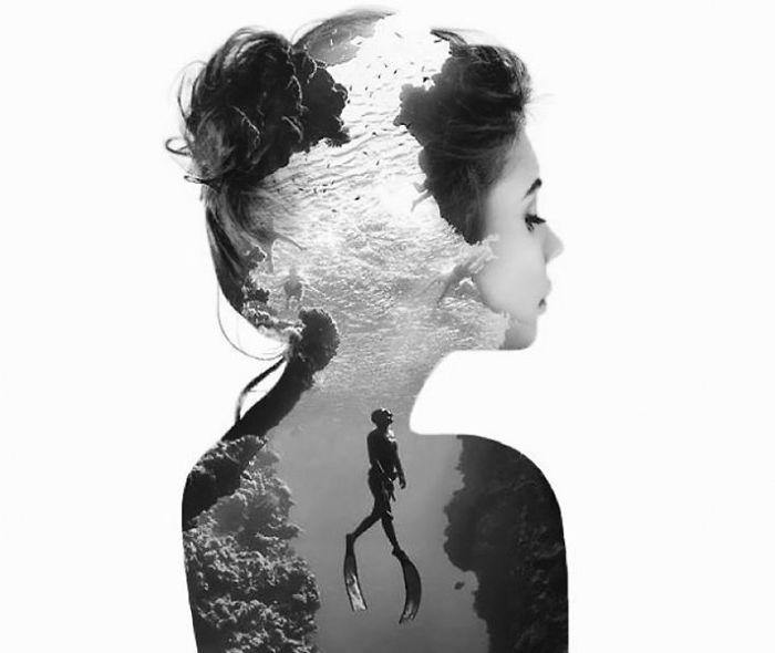 Retratos de doble exposición en los que fusiono 2 mundos en uno