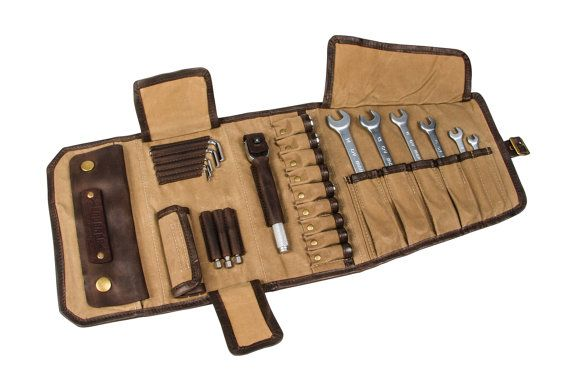 SALE 10%! Motorcycle Tool Roll made of beige waxed cotton and brown leather. Tool bag motorcycle.