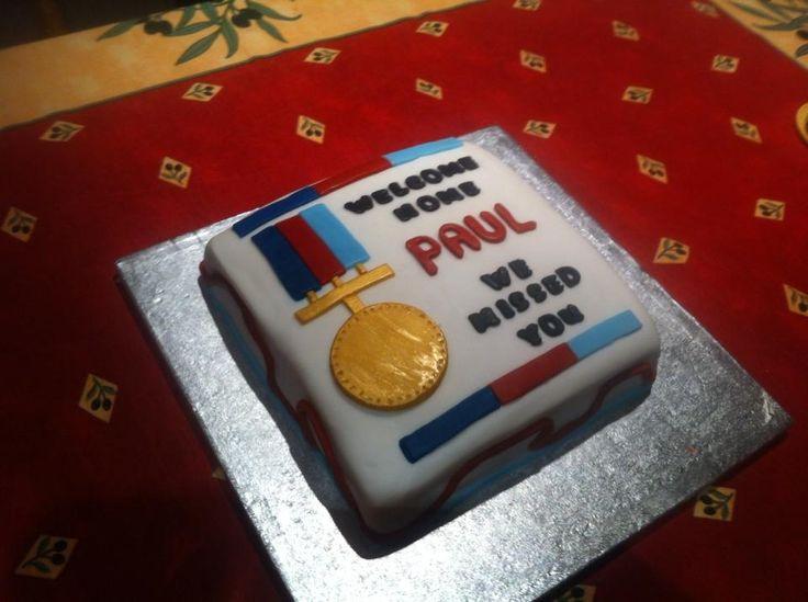 Military welcome home cake