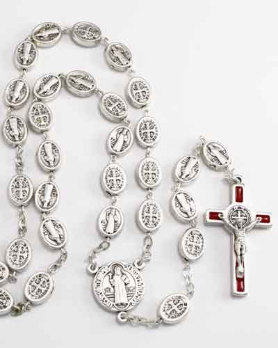 St Benedict #Rosary with oxidized oval #metal beads. Each bead has St. Benedict image on one side and St. Benedict #Cross on the reverse. It comes with a larger oxidized St. Benedict center and a Red enameled St. Benedict #Crucifix. This rosary may also be worn. Made in #Italy.(sku 8-1813r)