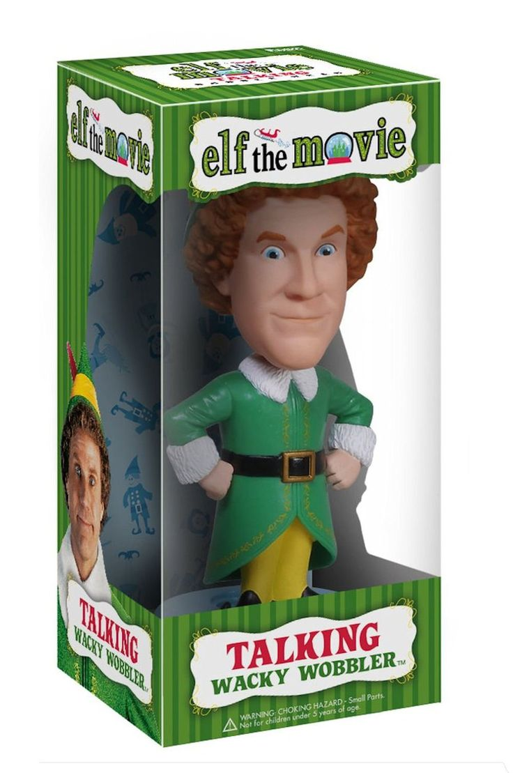 Funko Wacky Wobbler Elf the Movie Buddy Talking Bobble Head. Elf The Movie Funko Buddy Talking Wacky Wobbler Bobble-Head. Buddy is approximately 8 inches tall. Buddy says key phrases from Elf the Movie. Buddy the Elf talking when you bobble his head. For Ages 5+.